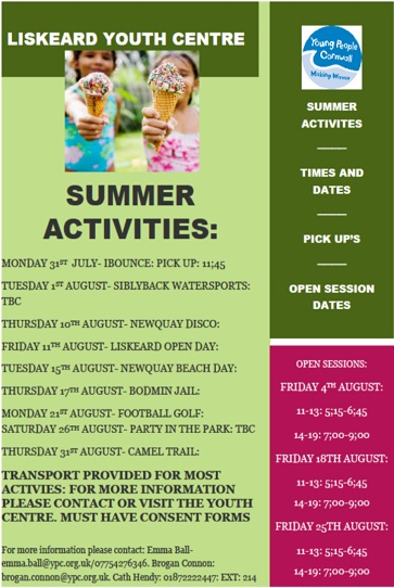 Liskeard Youth Centre Summer Activities